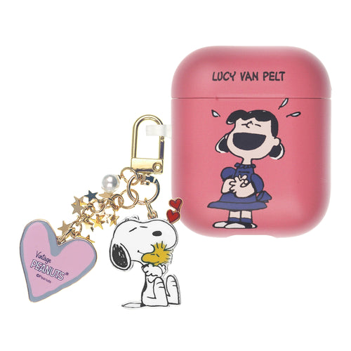 Peanuts AirPods Case Snoopy Key Ring Keychain Key Holder Hard PC Shell Strap Hole Cover Accessories - Happy Lucy