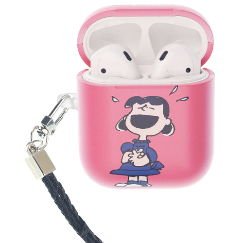 Peanuts AirPods Case Neck Lanyard Hard PC Shell Strap Hole Cover - Happy Lucy