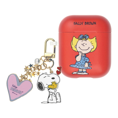 Peanuts AirPods Case Snoopy Key Ring Keychain Key Holder Hard PC Shell Strap Hole Cover Accessories - Happy Sally