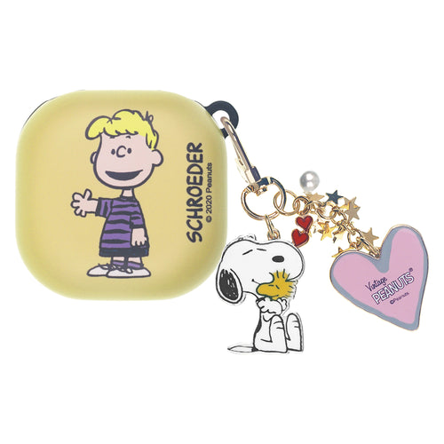 Peanuts Galaxy Buds Live Case (2020) Snoopy Key Ring Keychain Key Holder Hard PC Shell Cover - Happy Schroeder