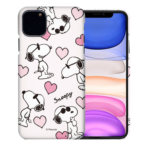 iPhone 12 mini Case (5.4inch) [Slim Fit] PEANUTS Thin Hard Matte Surface Excellent Grip Cover - Snoopy Heart Pattern