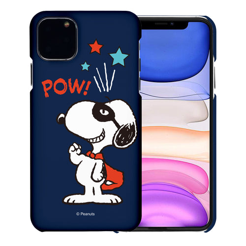iPhone 12 mini Case (5.4inch) [Slim Fit] PEANUTS Thin Hard Matte Surface Excellent Grip Cover - Snoopy Pow Navy
