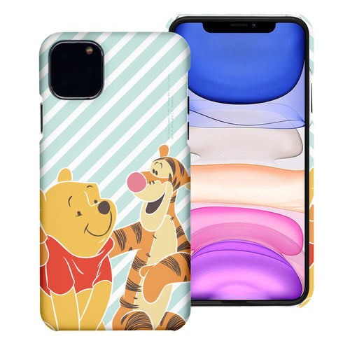 iPhone 12 mini Case (5.4inch) [Slim Fit] Disney Pooh Thin Hard Matte Surface Excellent Grip Cover - Stripe Pooh Tigger