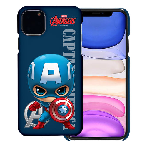 iPhone 11 Case (6.1inch) Marvel Avengers [Slim Fit] Thin Hard Matte Surface Excellent Grip Cover - Mini Captain America