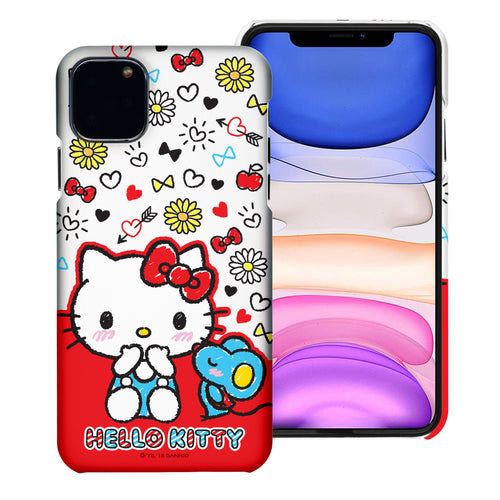 iPhone 11 Case (6.1inch) [Slim Fit] Sanrio Thin Hard Matte Surface Excellent Grip Cover - Kiss Hello Kitty