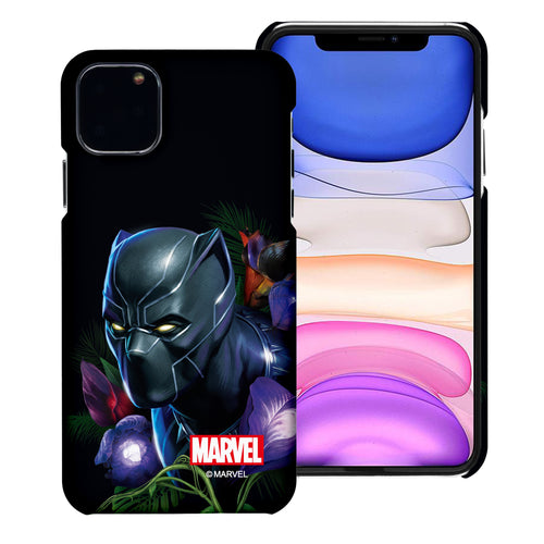iPhone 12 Pro / iPhone 12 Case (6.1inch) Marvel Avengers [Slim Fit] Thin Hard Matte Surface Excellent Grip Cover - Black Panther Face Black