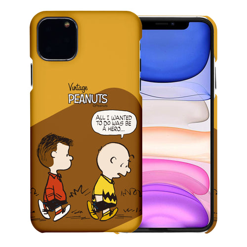 iPhone 11 Pro Case (5.8inch) [Slim Fit] PEANUTS Thin Hard Matte Surface Excellent Grip Cover - Cartoon Hero