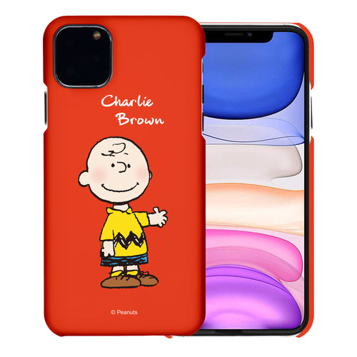 iPhone 11 Pro Case (5.8inch) [Slim Fit] PEANUTS Thin Hard Matte Surface Excellent Grip Cover - Charlie Brown Stand Red