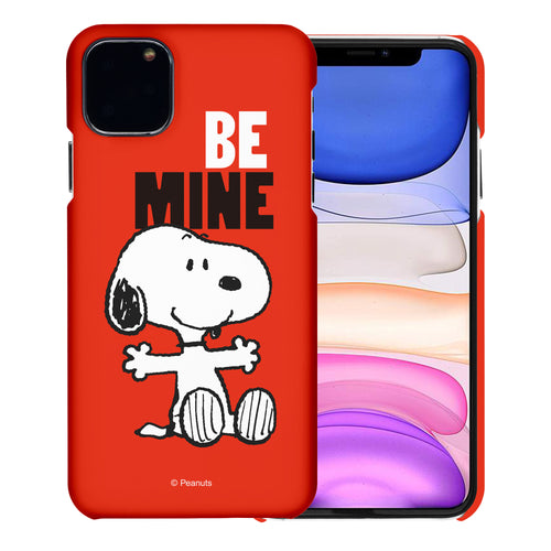 iPhone 12 mini Case (5.4inch) [Slim Fit] PEANUTS Thin Hard Matte Surface Excellent Grip Cover - Snoopy Be Mine Red