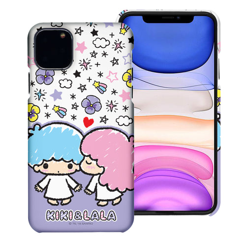 iPhone 11 Case (6.1inch) [Slim Fit] Sanrio Thin Hard Matte Surface Excellent Grip Cover - Kiss Little Twin Stars