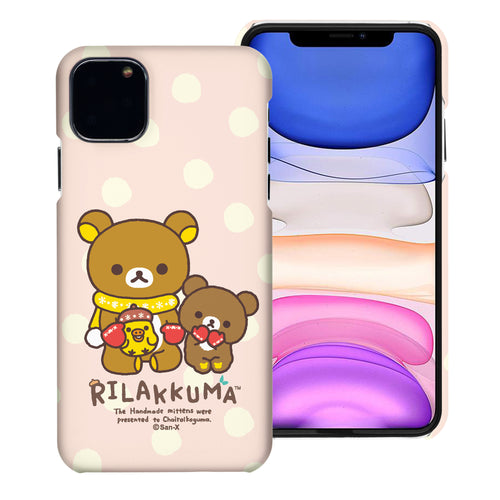 iPhone 11 Pro Max Case (6.5inch) [Slim Fit] Rilakkuma Thin Hard Matte Surface Excellent Grip Cover - Chairoikoguma Sit