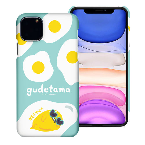 iPhone 11 Case (6.1inch) [Slim Fit] Sanrio Thin Hard Matte Surface Excellent Grip Cover - Rest Gudetama Mint