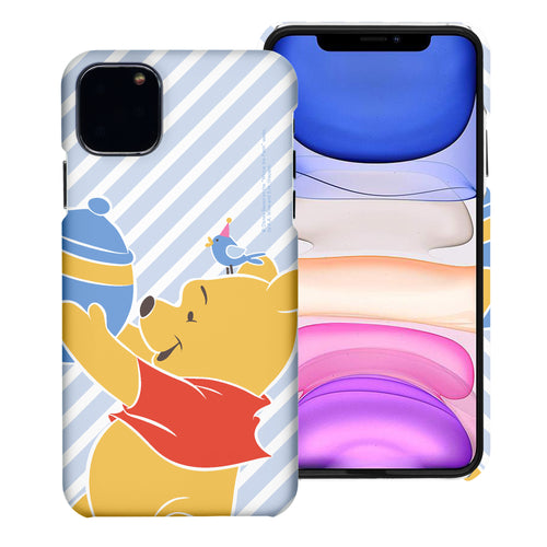 iPhone 12 mini Case (5.4inch) [Slim Fit] Disney Pooh Thin Hard Matte Surface Excellent Grip Cover - Stripe Pooh Bird
