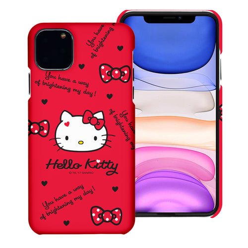iPhone 11 Case (6.1inch) [Slim Fit] Sanrio Thin Hard Matte Surface Excellent Grip Cover - Icon Hello Kitty