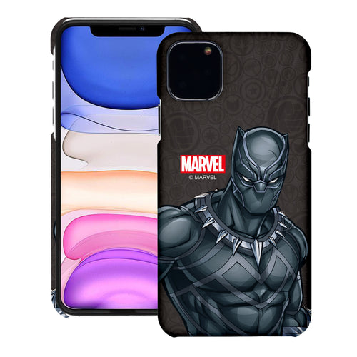 iPhone 12 Pro / iPhone 12 Case (6.1inch) Marvel Avengers [Slim Fit] Thin Hard Matte Surface Excellent Grip Cover - Illustration Black Panther