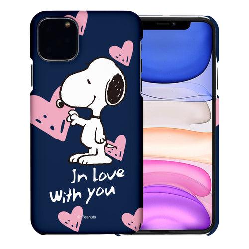 iPhone 12 mini Case (5.4inch) [Slim Fit] PEANUTS Thin Hard Matte Surface Excellent Grip Cover - Snoopy In Love Navy