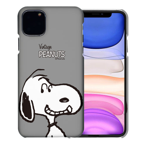 iPhone 11 Pro Case (5.8inch) [Slim Fit] PEANUTS Thin Hard Matte Surface Excellent Grip Cover - Face Snoopy