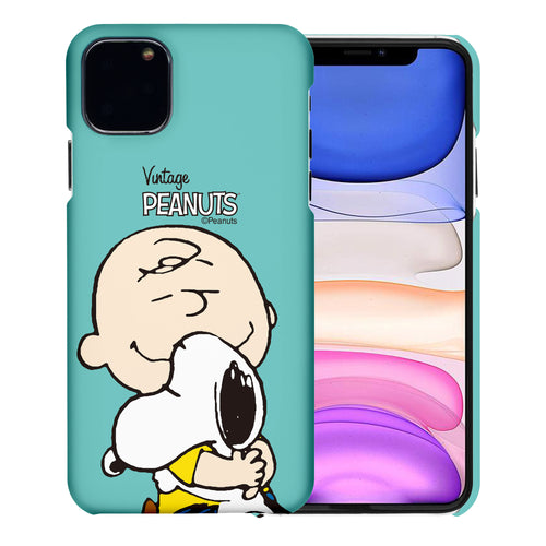 iPhone 11 Pro Case (5.8inch) [Slim Fit] PEANUTS Thin Hard Matte Surface Excellent Grip Cover - Face Charlie & Snoopy