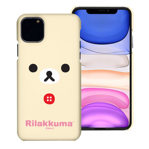 iPhone 11 Pro Max Case (6.5inch) [Slim Fit] Rilakkuma Thin Hard Matte Surface Excellent Grip Cover - Face Korilakkuma