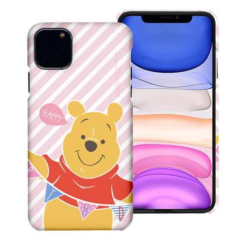 iPhone 11 Pro Max Case (6.5inch) [Slim Fit] Disney Pooh Thin Hard Matte Surface Excellent Grip Cover - Stripe Pooh Happy