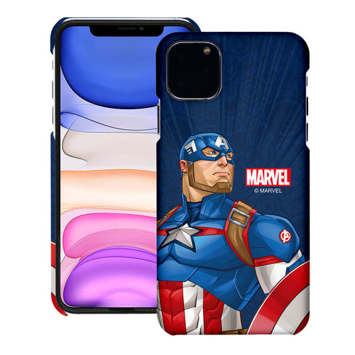 iPhone 11 Case (6.1inch) Marvel Avengers [Slim Fit] Thin Hard Matte Surface Excellent Grip Cover - Illustration Captain America