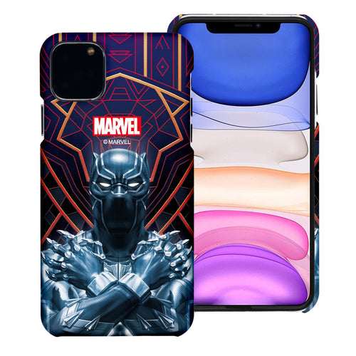 iPhone 12 Pro / iPhone 12 Case (6.1inch) Marvel Avengers [Slim Fit] Thin Hard Matte Surface Excellent Grip Cover - Black Panther Face Lines