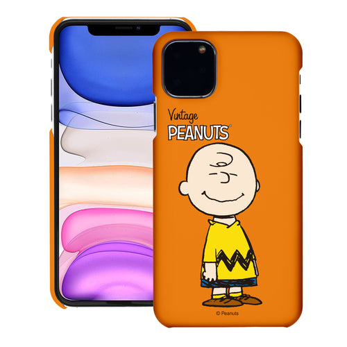 iPhone 12 mini Case (5.4inch) [Slim Fit] PEANUTS Thin Hard Matte Surface Excellent Grip Cover - Simple Charlie Brown