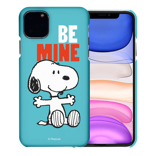 iPhone 11 Pro Case (5.8inch) [Slim Fit] PEANUTS Thin Hard Matte Surface Excellent Grip Cover - Snoopy Be Mine Cyan