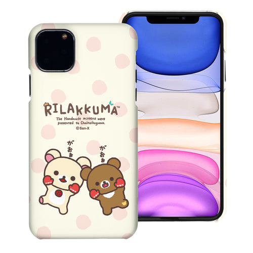 iPhone 11 Pro Max Case (6.5inch) [Slim Fit] Rilakkuma Thin Hard Matte Surface Excellent Grip Cover - Chairoikoguma Jump