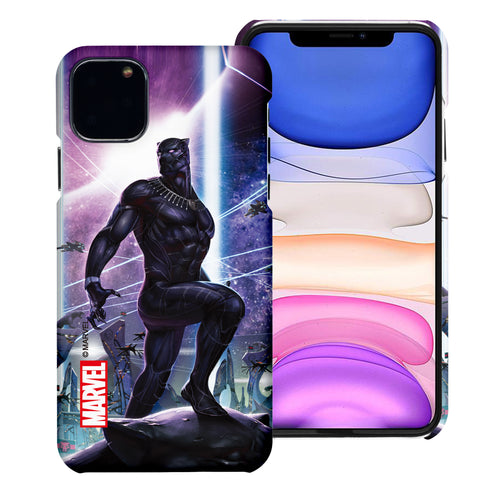iPhone 12 Pro / iPhone 12 Case (6.1inch) Marvel Avengers [Slim Fit] Thin Hard Matte Surface Excellent Grip Cover - Black Panther Stand