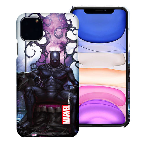 iPhone 12 Pro / iPhone 12 Case (6.1inch) Marvel Avengers [Slim Fit] Thin Hard Matte Surface Excellent Grip Cover - Black Panther Sit
