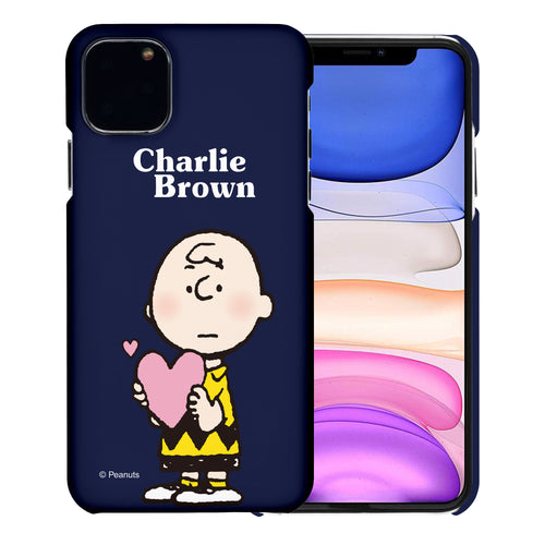 iPhone 11 Pro Case (5.8inch) [Slim Fit] PEANUTS Thin Hard Matte Surface Excellent Grip Cover - Charlie Brown Big Heart