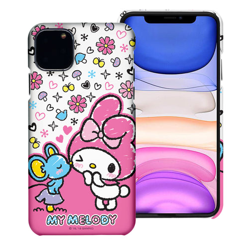iPhone 12 mini Case (5.4inch) [Slim Fit] Sanrio Thin Hard Matte Surface Excellent Grip Cover - Kiss My Melody