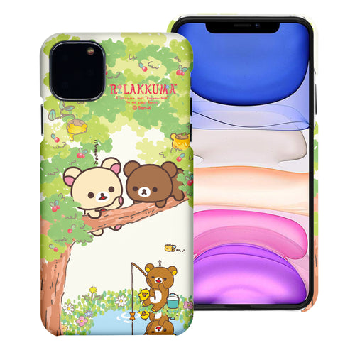 iPhone 11 Pro Max Case (6.5inch) [Slim Fit] Rilakkuma Thin Hard Matte Surface Excellent Grip Cover - Rilakkuma Forest