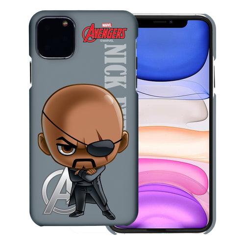 iPhone 12 Pro / iPhone 12 Case (6.1inch) Marvel Avengers [Slim Fit] Thin Hard Matte Surface Excellent Grip Cover - Mini Nick Fury
