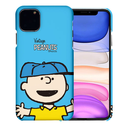 iPhone 12 mini Case (5.4inch) [Slim Fit] PEANUTS Thin Hard Matte Surface Excellent Grip Cover - Face Charlie Brown