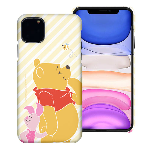 iPhone 12 mini Case (5.4inch) [Slim Fit] Disney Pooh Thin Hard Matte Surface Excellent Grip Cover - Stripe Pooh Bee