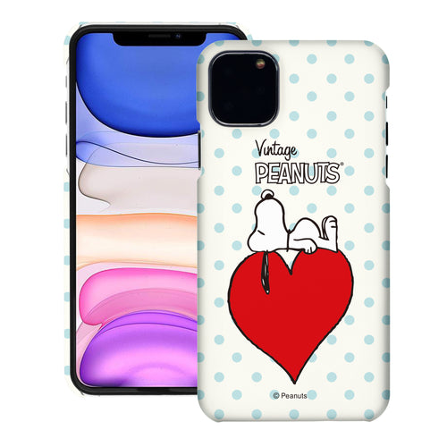 iPhone 12 mini Case (5.4inch) [Slim Fit] PEANUTS Thin Hard Matte Surface Excellent Grip Cover - Smack Snoopy Heart
