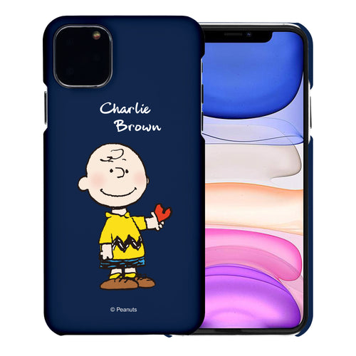 iPhone 12 mini Case (5.4inch) [Slim Fit] PEANUTS Thin Hard Matte Surface Excellent Grip Cover - Charlie Brown Stand Navy