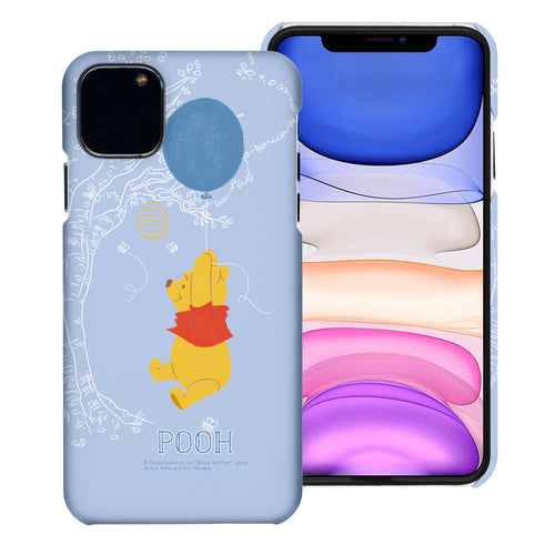 iPhone 11 Pro Max Case (6.5inch) [Slim Fit] Disney Pooh Thin Hard Matte Surface Excellent Grip Cover - Balloon Pooh Sky