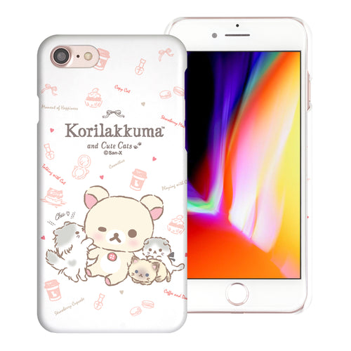iPhone SE 2020 / iPhone 8 / iPhone 7 Case (4.7inch) [Slim Fit] Rilakkuma Thin Hard Matte Surface Excellent Grip Cover - Korilakkuma Cat