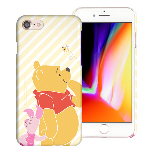 iPhone SE 2020 / iPhone 8 / iPhone 7 Case (4.7inch) [Slim Fit] Disney Pooh Thin Hard Matte Surface Excellent Grip Cover - Stripe Pooh Bee