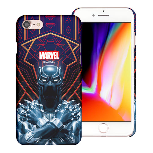 iPhone 8 Plus / iPhone 7 Plus Case Marvel Avengers [Slim Fit] Thin Hard Matte Surface Excellent Grip Cover - Black Panther Face Lines