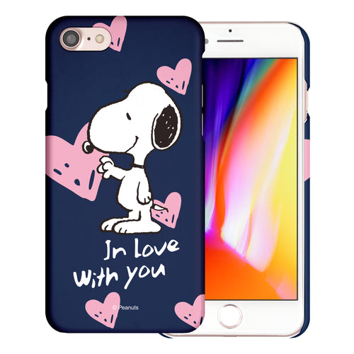 iPhone SE 2020 / iPhone 8 / iPhone 7 Case (4.7inch) [Slim Fit] PEANUTS Thin Hard Matte Surface Excellent Grip Cover - Snoopy In Love Navy