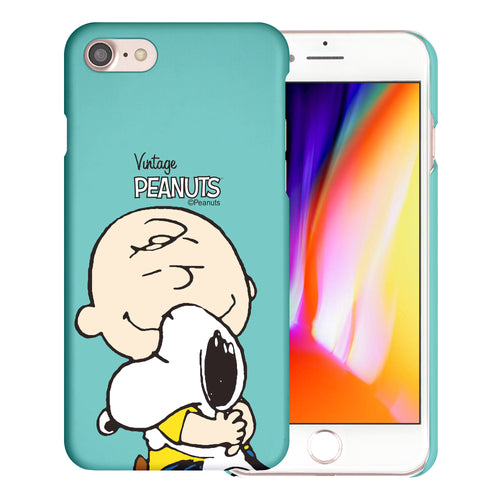 iPhone SE 2020 / iPhone 8 / iPhone 7 Case (4.7inch) [Slim Fit] PEANUTS Thin Hard Matte Surface Excellent Grip Cover - Face Charlie & Snoopy