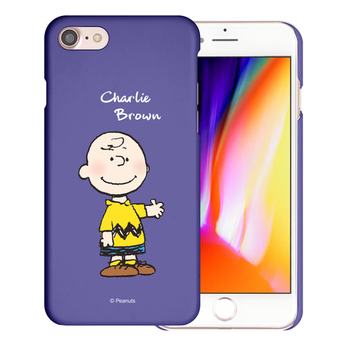 iPhone 6S / iPhone 6 Case (4.7inch) [Slim Fit] PEANUTS Thin Hard Matte Surface Excellent Grip Cover - Charlie Brown Stand Purple