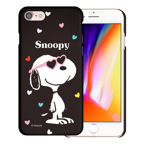 iPhone SE 2020 / iPhone 8 / iPhone 7 Case (4.7inch) [Slim Fit] PEANUTS Thin Hard Matte Surface Excellent Grip Cover - Snoopy Heart Glasses Black
