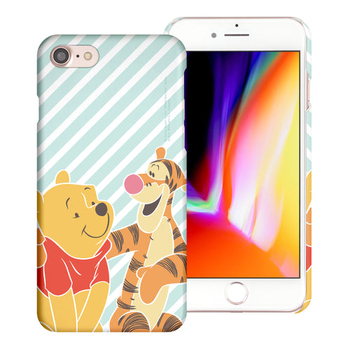iPhone SE 2020 / iPhone 8 / iPhone 7 Case (4.7inch) [Slim Fit] Disney Pooh Thin Hard Matte Surface Excellent Grip Cover - Stripe Pooh Tigger