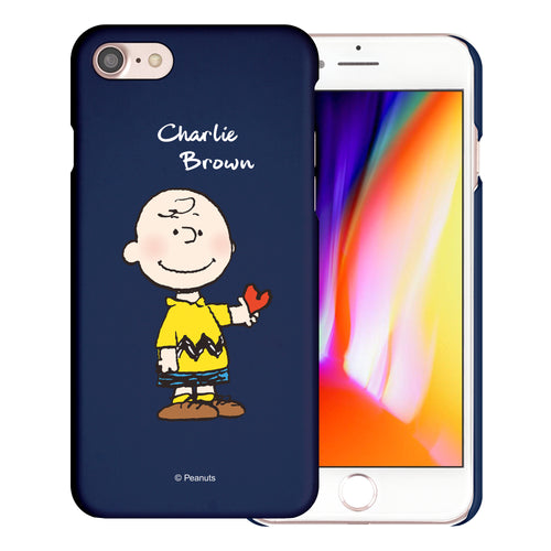 iPhone 6S / iPhone 6 Case (4.7inch) [Slim Fit] PEANUTS Thin Hard Matte Surface Excellent Grip Cover - Charlie Brown Stand Navy