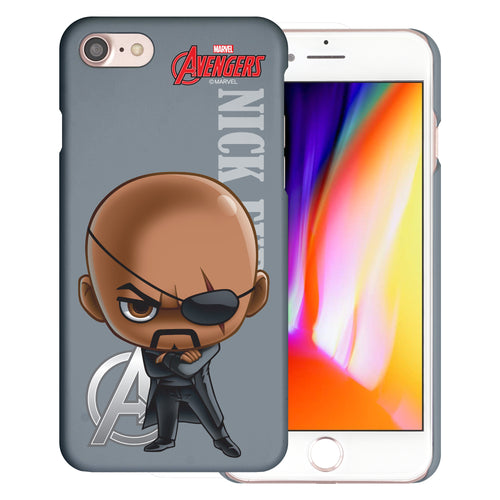 iPhone 8 Plus / iPhone 7 Plus Case Marvel Avengers [Slim Fit] Thin Hard Matte Surface Excellent Grip Cover - Mini Nick Fury